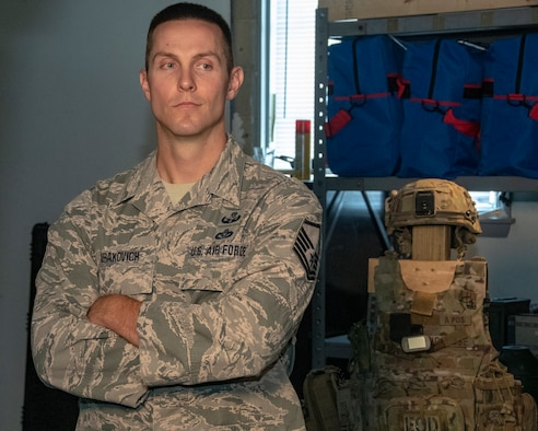 MSgt Mark Jurakovich from the 166th Airlift Wing Explosive Ordinance Disposal Unit, Delaware Air National Guard and the Outstanding Airman of the Year in the category of Senior Noncommissioned officer, poses for photo, Jun 6, 2019. OAY is an ANG command chief program to recognize the best of the best Airman throughout the ANG enterprise. (U.S. Air National Guard photo by Master Sgt. David J. Fenner)
