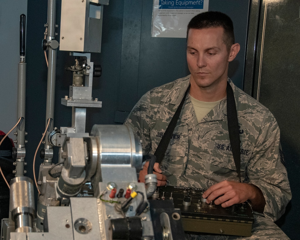 MSgt Mark Jurakovich from the 166th Airlift Wing Explosive Ordinance Disposal Unit, Delaware Air National Guard and the Outstanding Airman of the Year in the category of Senior Noncommissioned officer works with EOD robot, Jun 6, 2019. OAY is an ANG command chief program to recognize the best of the best Airman throughout the ANG enterprise. (U.S. Air National Guard photo by Master Sgt. David J. Fenner)