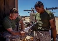 U.S. Marines with 1st Battalion, 25th Marine Regiment, 4th Marine Division, conduct gear accountability during Integrated Training Exercise 5-19 at Marine Corps Air Ground Combat Center Twentynine Palms, Calif., Aug. 12, 2019. ITX 5-19 is an essential component of the Marine Forces Reserve's training and readiness cycle. It serves as the principle exercise for assessing a unit's capabilities. (U.S. Marine Corps photo by Lance Cpl. Jose Gonzalez)