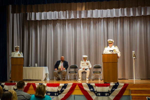 Capt. Brian D. Lawrence speaks during his retirement ceremony Aug. 12, which directly followed the Supervisor of Shipbuilding Gulf Coast change of command ceremony where Capt. Nathan A. Schneider relieved Lawrence of command.