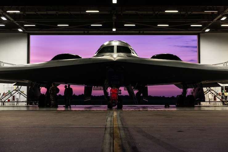A B-2 Spirit is prepped for launch in a flight line dock on July 17, 2019, at Whiteman Air Force Base, Missouri. Whiteman AFB is celebrating the 30th anniversary of the inaugural flight of the B-2 in 1989. (U.S. Air Force photo by Senior Airman Thomas M. Barley)