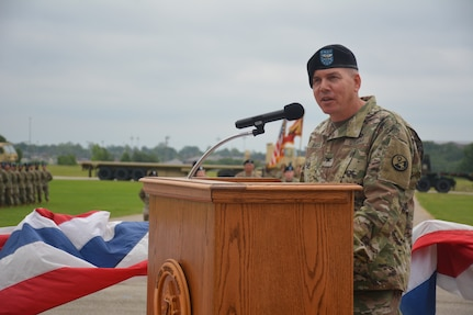 Col. Keith Barta, commander of the 2nd Brigade, 94th Training Division-Force Sustainment, speaks at the 58th Transportation Battalion's re-patching ceremony held at Fort Leonard Wood, Missouri, on June 21, 2019. Once part of the 3rd Chemical Brigade, the 58th TB is an Army Active Duty unit stationed at Fort Leonard Wood. The 58th TB now falls under the 2nd Brigade, 94th TD, under the 80th Training Command (TASS). (Photos by Maj. Ebony Gay, 94th Training Division-Force Sustainment, Public Affairs)