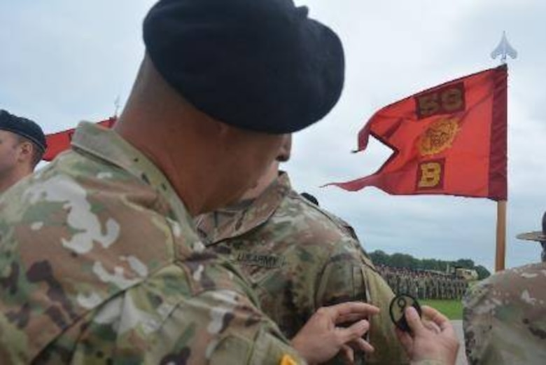 Army Soldiers receive new unit patches at the 58th Transportation Battalion's re-patching ceremony held at Fort Leonard Wood, Missouri, on June 21, 2019. Once part of the 3rd Chemical Brigade, the 58th TB is an Army Active Duty unit headquartered at Fort Leonard Wood. The 58th TB now falls under the 2nd Brigade, 94th TD, under the 80th Training Command (TASS). (Photos by Maj. Ebony Gay, 94th Training Division-Force Sustainment, Public Affairs)