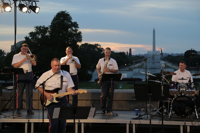 "On Aug. 10, 2016, the Marine Band's ""Free Country"" ensemble performed a summer concert at the U.S. Capitol Building."