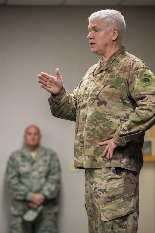 Lt. Gen. L. Scott Rice, director of the Air National Guard, speaks to members of the 123rd Airlift Wing during a town hall meeting at the Kentucky Air National Guard Base in Louisville, Ky. Aug. 10, 2019. Rice also toured the base and meet with Airmen in various duty sections to learn more about the wing's unique mission sets, which include special tactics and the only contingency response group in the Air National Guard. (U.S. Air National Guard photo by Dale Greer)