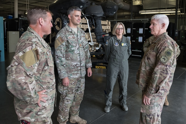 Lt. Gen. L. Scott Rice, director of the Air National Guard, speaks with members of the 123rd Special Tactics Squadron and 165th Airlift Squadron during a tour of the Kentucky Air National Guard Base in Louisville, Ky. Aug. 10, 2019. Rice also conducted a town hall meeting and answered questions posed by Kentucky Air Guardsmen. (U.S. Air National Guard photo by Dale Greer)