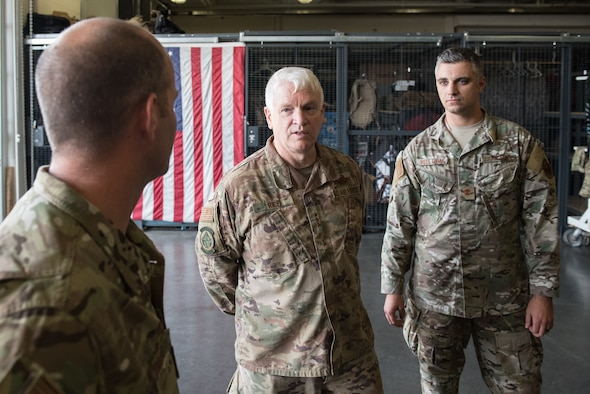 Lt. Gen. Scott L. Rice, director of the Air National Guard, speaks with members of the 123rd Special Tactics Squadron during a tour of the Kentucky Air National Guard Base in Louisville, Ky. Aug. 10, 2019. Rice also conducted a town hall meeting and answered questions posed by Kentucky Air Guardsmen. (U.S. Air National Guard photo by Dale Greer)