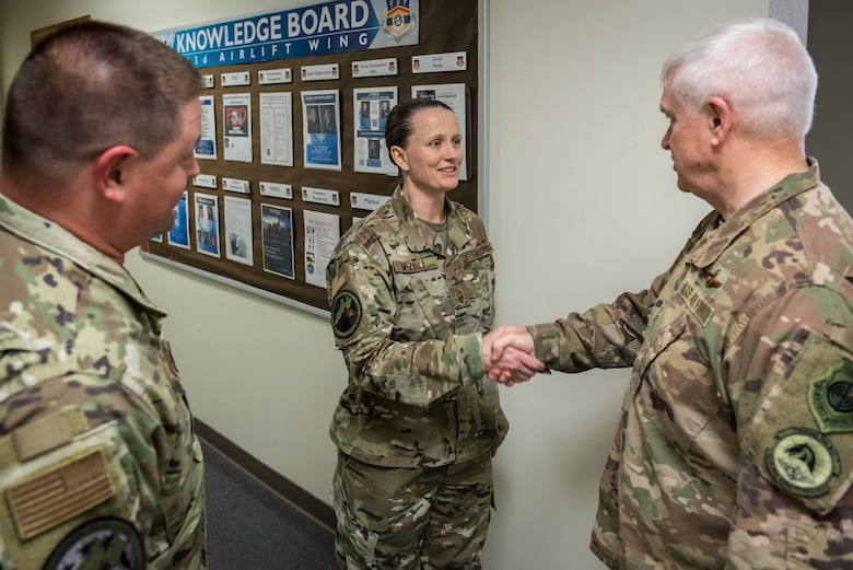 Lt. Gen. L. Scott Rice, director of the Air National Guard, speaks with Chief Master Sgt. Andrea Mizzell of the 123rd Communications Squadron during a tour of the Kentucky Air National Guard Base in Louisville, Ky. Aug. 10, 2019. Rice also conducted a town hall meeting and answered questions posed by Kentucky Air Guardsmen. (U.S. Air National Guard photo by Dale Greer)