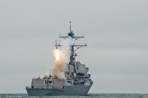 IMAGE: PACIFIC OCEAN (June 23, 2010) The guided-missile destroyer USS Sterett (DDG 104) successfully launches its second Tomahawk missile during weapons testing. Sterett is underway off the coast of Southern California conducting Tomahawk missile testing in preparation for an upcoming deployment.