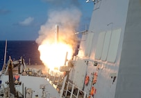 IMAGE: PACIFIC OCEAN – A Tomahawk cruise missile launches from the Arleigh Burke-class guided-missile destroyer USS Shoup (DDG 86) during a live-fire exercise as part of Valiant Shield 2018 in the Pacific Ocean. Naval Surface Warfare Center Dahlgren Division (NSWCDD) institutionalized its Technical Excellence Framework to make a difference in the Fleet in terms of capability, quality, security and safety of warfare mission critical products – including system development and products supporting the Tomahawk cruise missile – the command announced, Aug. 13, 2019. Dahlgren's Technical Excellence Framework - a set of project execution requirements, training, internal project reviews, technical excellence metrics and data-driven continuous improvement - applies to all NSWCDD technical programs and projects. Over the course of seven years, the command's Chief Engineer Council worked to achieve their vision of institutionalizing technical excellence, rigor and discipline in order to meet the primary goal of consistently and efficiently developing safe, secure, reliable, maintainable, and high-quality products and systems.