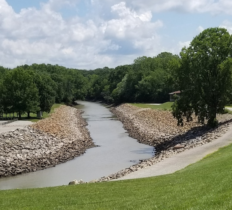 The Chariton River shown just below the outlet works at Rathbun Lake near Centerville, Iowa, August 13, 2019.