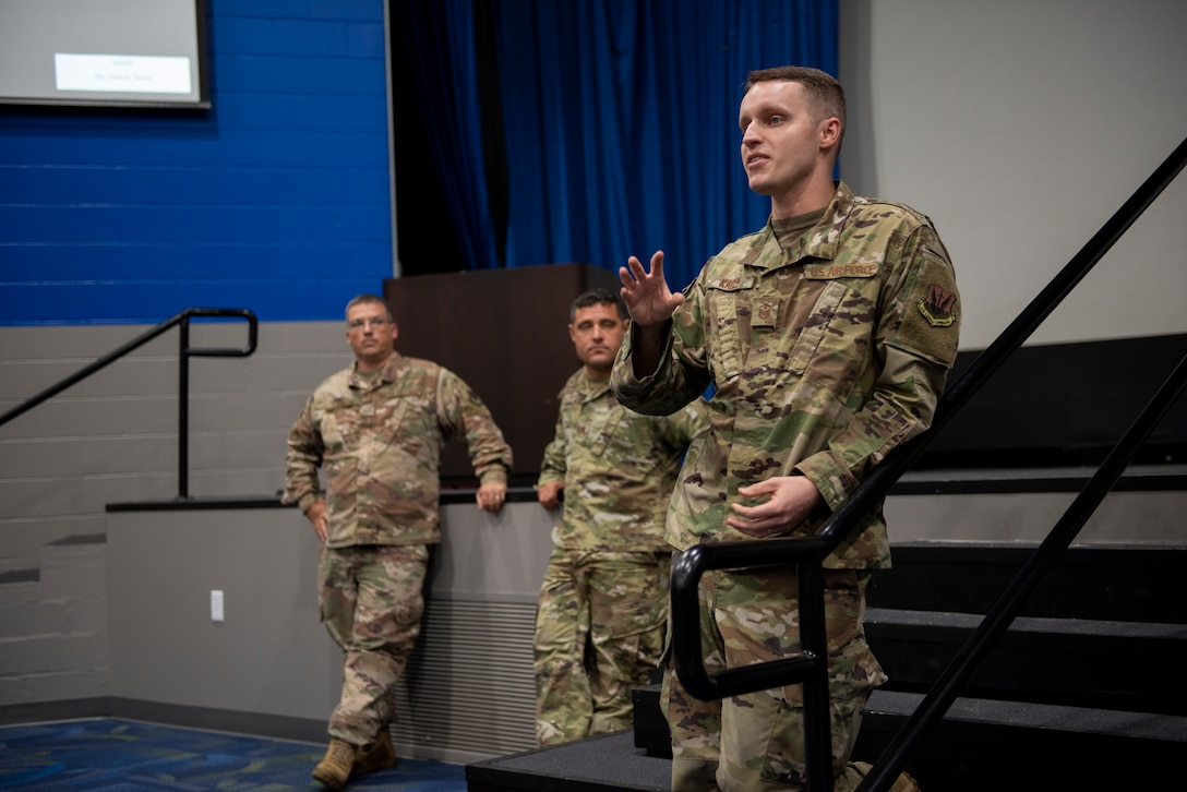 Master Sgt. Paul Kalle, 723d Aircraft Maintenance Unit first sergeant, answers a question during the 2019 First Sergeant Symposium panel held in the Hoffman Auditorium at Moody Air Force Base, Aug. 7-9, 2019. The symposium provided leaders with a better understanding of the roles and responsibilities of a first sergeant.  (U.S. Air Force photo 2nd Lt. Kaylin P. Hankerson)