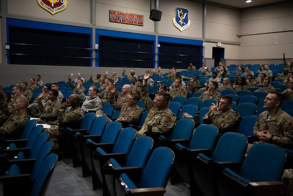 Moody senior noncommissioned officers participate in the 2019 First Sergeant Symposium held in the Hoffman Auditorium at Moody Air Force Base, Aug. 7-9, 2019. The symposium provided leaders with a better understanding of the roles and responsibilities of a first sergeant.  (U.S. Air Force photo 2nd Lt. Kaylin P. Hankerson)