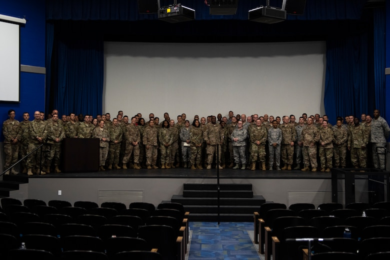 Moody senior noncommissioned officers pose for a group photo after receiving their certificates for completing the 2019 First Sergeant Symposium held in the Hoffman Auditorium at Moody Air Force Base, Aug. 7-9, 2019. The symposium provided leaders with a better understanding of the roles and responsibilities of a first sergeant.  (U.S. Air Force photo 2nd Lt. Kaylin P. Hankerson)