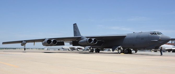B-52H Stratofortress, serial # 61-0011, arrives at Tinker Air Force Base, Oklahoma on July 17, 2019 for induction to major overhaul by the Oklahoma City Air Logistics Complex after a ferry flight from San Antonio, Texas. 61-0011 was flown gear-down by a crew from the 10th Flight Test Squadron, Air Force Reserve Command, from Boeing's facility after receiving 'milk-bottle' replacements to extend the service life of the aircraft by replacing the wing-attachment points. (U.S. Air Force photo/Greg L. Davis)