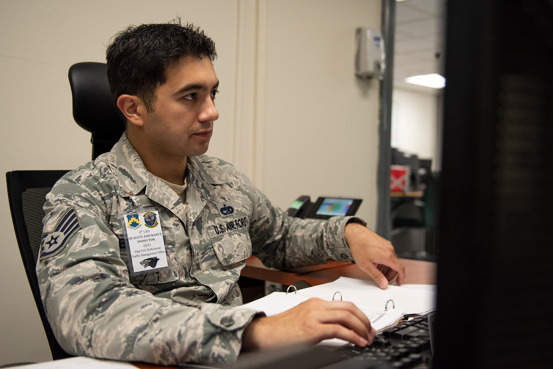Staff Sgt. Eric Kobylanski, 8th Logistics Readiness Squadron Traffic Management Office quality assurance inspector checks inbound and outbound shipments for Wolf Pack personnel at Kunsan Air Base, Republic of Korea, Aug. 9, 2019. For the first quarter of 2019, the QA section was named the top section in Pacific Air Forces, beating the PACAF average of 87 percent with a 100 percent. (U.S. Air Force photo by Staff Sgt. Mackenzie Mendez)