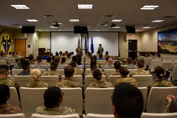U.S. Air Force Maj. Gen. Mary F. O'Brien, Twenty-Fifth Air Force commander, and Chief Master Sgt. Summer Leifer, Twenty-Fifth Air Force command chief, talk about the future of intelligence, surveillance, and reconnaissance at Cannon Air Force Base, New Mexico, Aug. 13, 2019. Twenty-Fifth Air Force Airmen deliver multisource ISR products, applications, capabilities and resources; electronic warfare; and integrated cyber ISR forces and expertise. (U.S. Air Force photo by Senior Airman Gage Daniel)