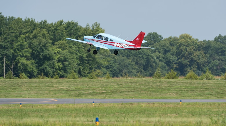 A Piper Warrior aircraft takes off Aug. 6, 2019, at Delaware Airpark in Cheswold, Del. The Delaware State University aviation program has 10 Piper Warrior aircraft that are used by cadets who attended the Air Force Junior Reserve Officers' Training Corps Summer Flight Academy held at DSU in Dover, June 17 through August 8, 2019. (U.S. Air Force photo by Roland Balik)