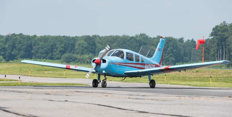 A Piper Warrior aircraft taxis off the runway Aug. 6, 2019, at Delaware Airpark in Cheswold, Del. The Delaware State University aviation program has 10 Piper Warrior aircraft that were used by cadets who attended the Air Force Junior Reserve Officers' Training Corps Summer Flight Academy held at DSU in Dover, June 17 through August 8, 2019. (U.S. Air Force photo by Roland Balik)