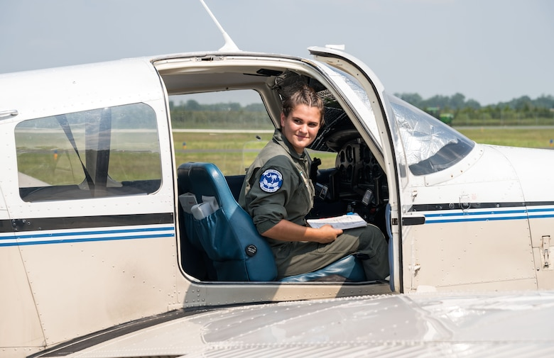 Air Force Junior Reserve Officers' Training Corps cadet Madelyn Spitzer, observes the right aileron on a Piper Warrior II aircraft during her preflight checks Aug. 6, 2019, at Delaware Airpark in Cheswold, Del. Spitzer and Mohammad Ahmed, Delaware State University certified flight instructor, flew around the airpark and practiced skills learned during the eight-week AFJROTC Summer Flight Academy held at DSU in Dover. Spitzer is a cadet with AFJROTC Detachment SC-951, Clover High School, Clover, S.C. (U.S. Air Force photo by Roland Balik)
