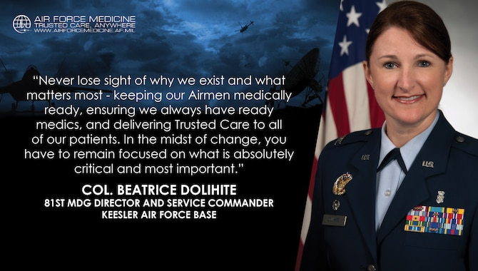 Col. Beatrice Dolihite, 81st Medical Group director and service commander, Keesler Air Force Base, Mississippi, reflects on her experience as the commander of one of the first military treatment facilities to move to the Defense Health Agency on Oct. 1, 2018. (U.S. Air Force illustration)
