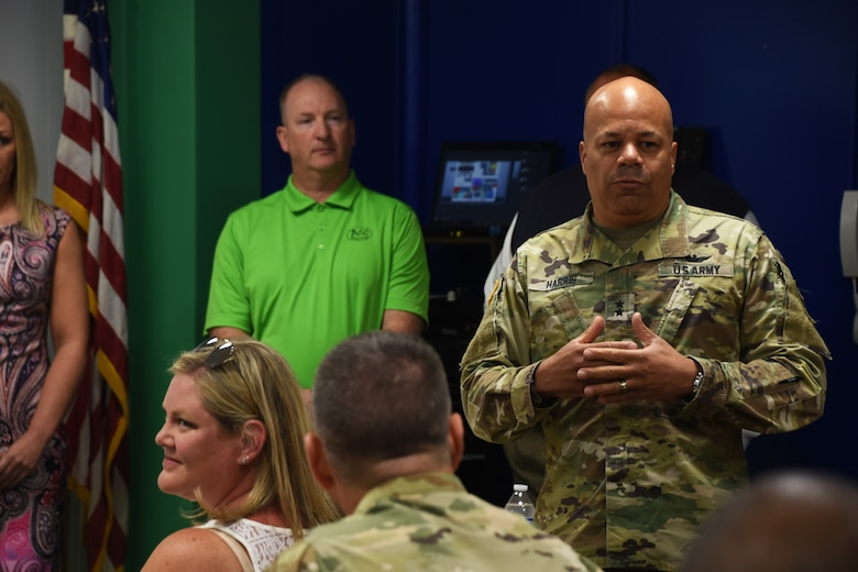 U.S. Army National Guard Maj. Gen. John Harris, Ohio Adjutant General, spoke to volunteer members during GuardCare Weekend Aug. 11, 2019, at the Buckeye Career Center, New Philadelphia, Ohio. During the event both service members from the Ohio Army and Air National Guard provided health services to the local and surrounding New Philadelphia population. (U.S. Air National Guard photo by Senior Airman Gwendalyn Smith)