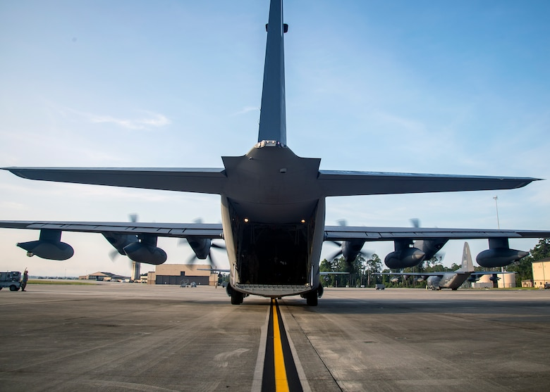 An HC-130J Combat King II sits on the flightline, Aug. 13, 2019, at Moody Air Force Base, Ga. Airmen from the 71st Aircraft Maintenance Unit perform various tasks prior to takeoff to ensure the aircraft is performing optimally to complete its mission of supporting the 71st Rescue Squadron. Those tasks consist of: pre-flight inspection, removing plugs and cover, repairing any problems found during crew pre-flight checks as well as marshaling the aircraft for takeoff.  (U.S. Air Force photo by Airman 1st Class Eugene Oliver)