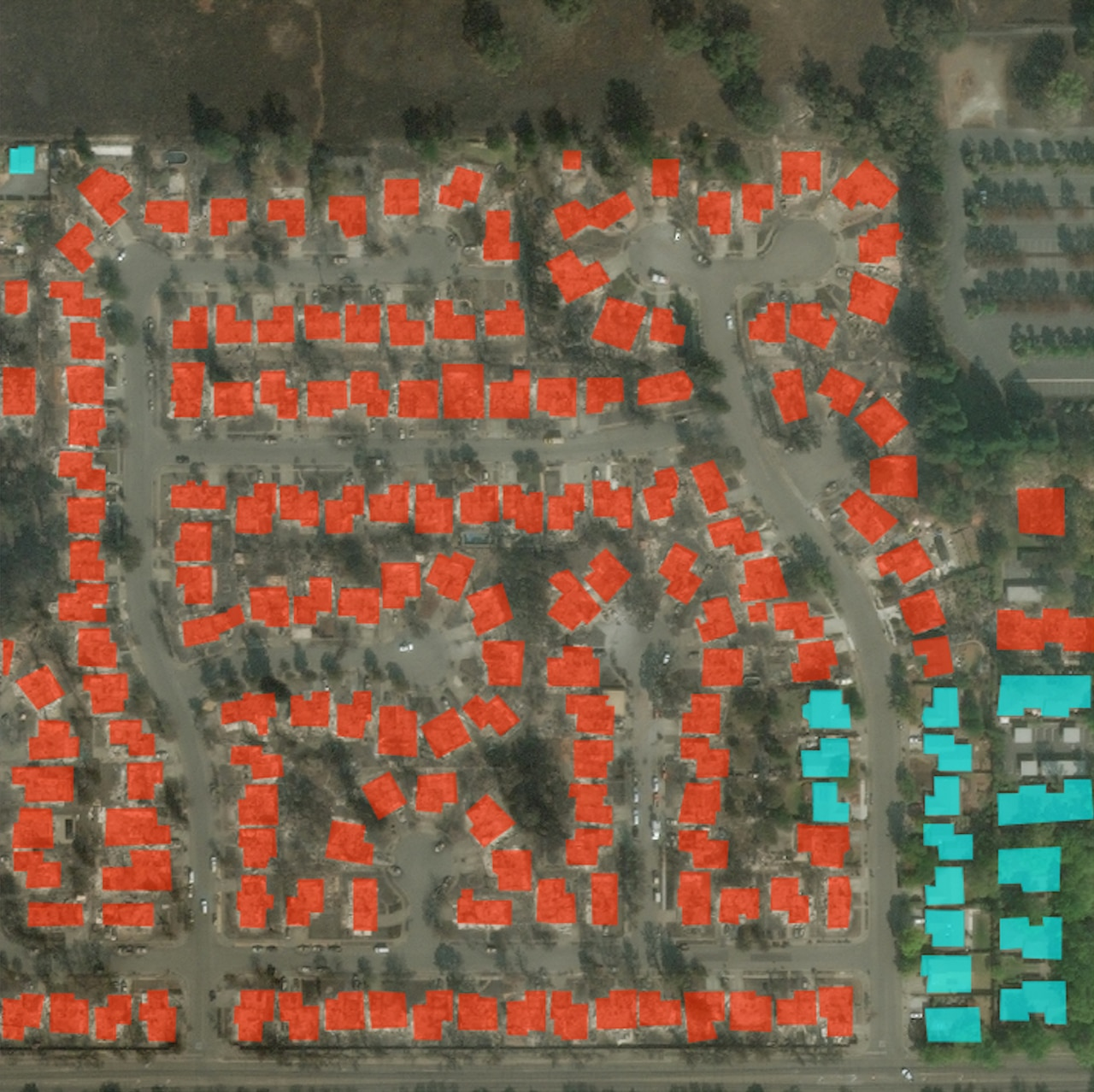 Satellite photo of a residential subdivision with red and blue rectangles marking damaged and undamaged homes, respectively.