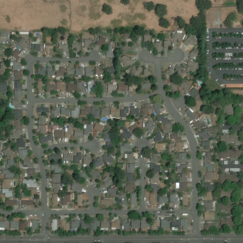 Satellite photo of a residential subdivision.