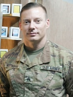 Sgt. Cory Nottingham, 1972d Medical Detachment, the occupational therapy specialist for a behavioral health outpost, poses for a photo at Erbil, Iraq, July 29, 2019.