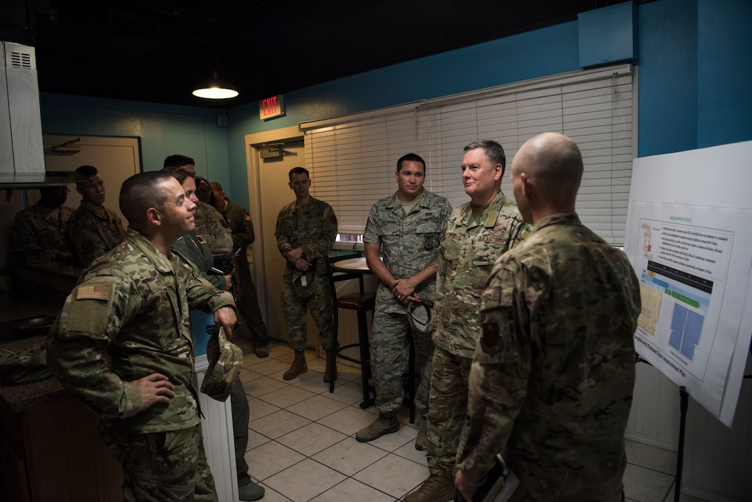 Lt. Gen. Brad Webb, commander of Air Education and Training Command (AETC), goes over his thoughts on quality of life improvements, Aug. 14, 2019, at Laughlin Air Force base, Texas. Webb assumed command of AETC on July 26 and visits Laughlin as part of his immersion tour. Laughlin is one of only four bases that conducts specialized undergraduate pilot training for the United States Air Force.  (U.S. Air Force photo/video by Staff Sgt. Benjamin N. Valmoja).
