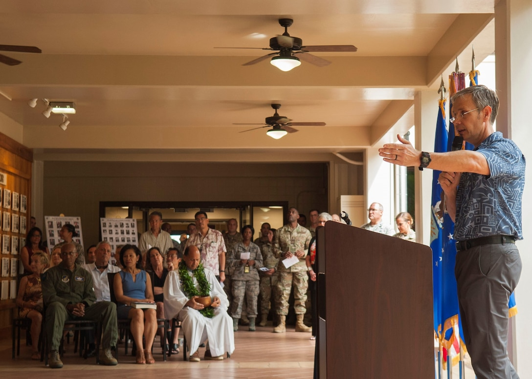 Donald Fenton, Pacific Air Forces command historian, gives a historical speech during a 75th anniversary ceremony in the Courtyard of Heroes at Headquarters PACAF, Aug. 2, 2019. The Far East Air Forces was activated on Aug. 3, 1944 at Brisbane, Australia, under the command of Lt. Gen. George C. Kenney. Over the next 18 months, FEAF moved from Brisbane to New Guinea, the Philippines and then to Japan. The FEAF moved from Fuchu Air station, Japan, to Hickam Air Force Base, Hawaii, on July 1, 1957, and was redesignated Pacific Air Forces. (U.S. Air Force photo by Staff Sgt. Mikaley Kline)
