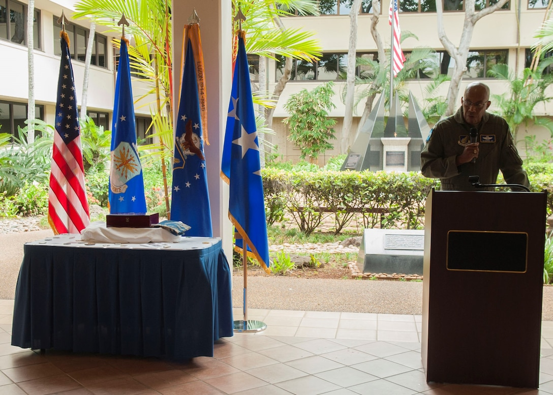 Gen. CQ Brown, Jr., Pacific Air Forces commander, gives a speech during a 75th anniversary ceremony in the Courtyard of Heroes at Headquarters PACAF, Aug. 2, 2019. The Far East Air Forces was activated on Aug. 3, 1944 at Brisbane, Australia, under the command of Lt. Gen. George C. Kenney. Over the next 18 months, FEAF moved from Brisbane to New Guinea, the Philippines and then to Japan. The FEAF moved from Fuchu Air station, Japan, to Hickam Air Force Base, Hawaii, on July 1, 1957, and was redesignated Pacific Air Forces. (U.S. Air Force photo by Staff Sgt. Mikaley Kline)