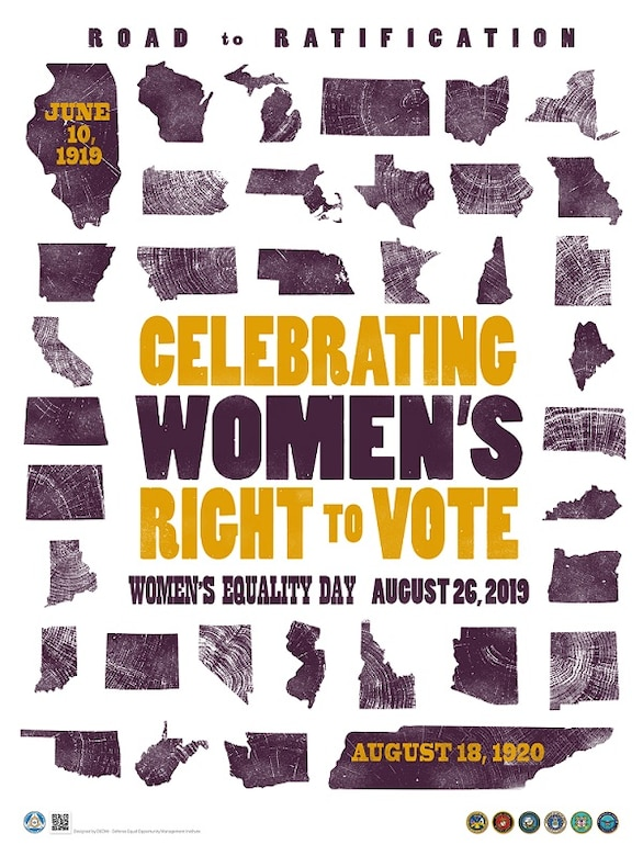 The 2019 Women's Equality Day poster showcases the 36 states, beginning with Illinois and ending with Tennessee, that were needed for a two-thirds majority to ratify the amendment. Each state is represented by a wood stamp, typical of the age, but whose different wood grains signify the different paths each state took to ratify the amendment. (Courtesy graphic)