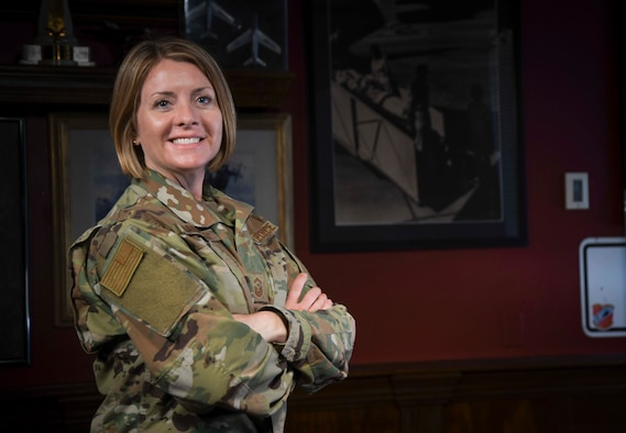 U.S. Air Force 1st Sgt. Rachel L. Landegent, the wing staff and operations group first sergeant with the 161st Air Refueling Wing, Arizona Air National Guard, poses for her Air National Guard 2019 Outstanding First Sergeant of the Year portrait in Phoenix, Ariz., July 2, 2019. Landegent was recognized for her overall esteemed first sergeant performance that resulted in a significant improvement in Airmen's quality of life. (Air National Guard photo by Staff Sgt. Morgan R. Lipinski)