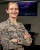 U.S. Air Force Airman 1st Class Kaleigh M. Bevan, a cyberwarfare operator from the 184th Intelligence Wing, Kansas Air National Guard, poses for an award portrait in Wichita, Kansas, July 19, 2019. Bevan was recognized as the Air National Guard's 2019 Outstanding Airman of the Year for her commitment to embracing the Whole Airman Concept in both her personal and professional life. (U.S. Air National Guard photo by Master Sgt. David J. Fenner)