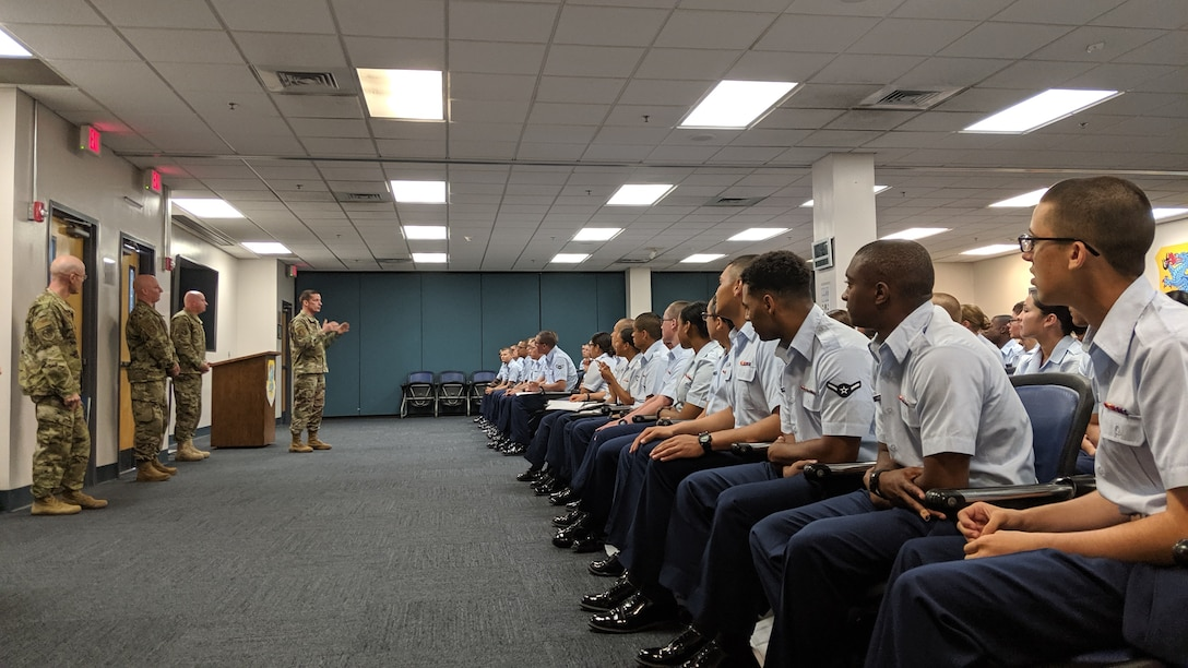 Maj. Gen. Robert Skinner, 24th Air Force commander, greets students assigned to the 81st Training Group, Keesler Air Force Base, Mississippi, Aug. 13, 2019. The group is responsible for training more than 3,000 students, enrolled in over 160 courses, every day. (U.S. Air Force photo by Capt. Sean Guerrero)