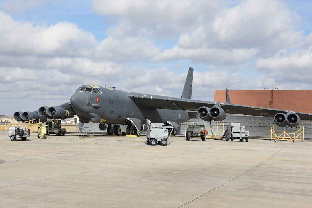 Air Air Force Reserve Command B-52H Stratofortress sits on the flight line undergoing heavy depot level maintenance with the Oklahoma City Air Logistics Complex at Tinker Air Force Base, Oklahoma, Dec. 4, 2017. OC-ALC provides maintenance and sustainment of the Air Force's fleet of B-52 bombers under the Air Force Sustainment Center's ALC structure. (U.S. Air Force photo/Greg L. Davis)