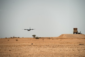 A U.S. Air Force C-130J Super Hercules assigned to the 37th Airlift Squadron at Ramstein Air Base, Germany, lands at Nigerien Air Base 201, Agadez, Niger, Aug. 3, 2019. This was the first C-130 to land at Air Base 201, marking the beginning of limited Visual Flight Rules operations at the base. (U.S. Air Force photo by Staff Sgt. Devin Boyer)