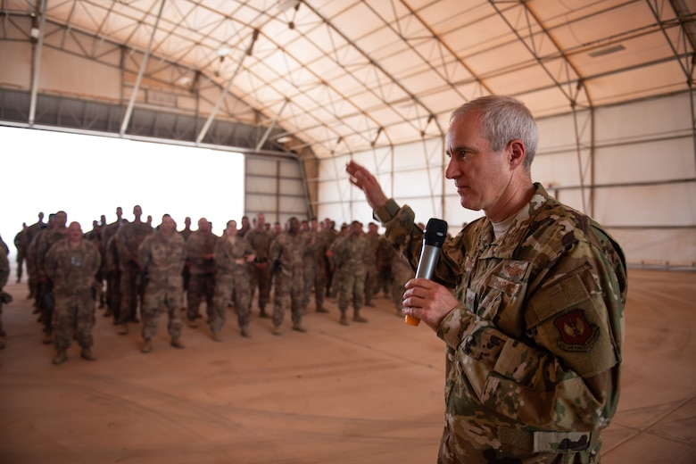 U.S. Air Force Col. Steven J. Jantz, 435th Air Ground Operations Wing and 435th Air Expeditionary Wing commander, speaks to Airmen at Nigerien Air Base 201, Agadez, Niger, Aug. 3, 2019. Jantz spoke about the accomplishments at Air Base 201 and the official opening of the runway. (U.S. Air Force photo by Staff Sgt. Devin Boyer)