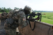 Florida National Guard Soldiers fire at the enemy, from a rooftop building, during lanes training at eXportable Combat Training Capability 19-05 at Camp Shelby, Mississippi.