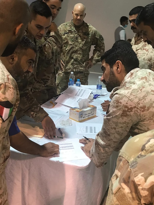 Soldiers from the 77th Sustainment Brigade participate in a medical workshop to help teach the Kuwaiti Land Forces basic life support steps necessary on the battlefield on July 31, 2019.