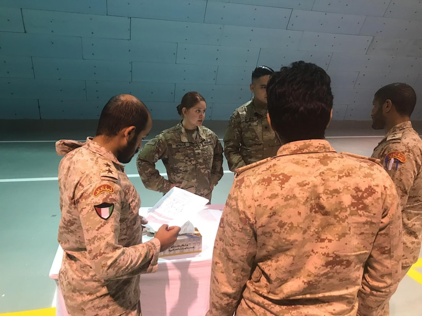 Spc. Taylor M. Nowak, 77th Sustainment Brigade combat medic/health care specialist, U.S. Army Reserve, participates in a medical workshop to help teach the Kuwaiti Land Forces basic life support steps necessary on the battlefield at the Kuwait North Military Medical Complex, July 31, 2019. The workshop uses the U.S. Army Combat Lifesaver Course as the foundation for the training.