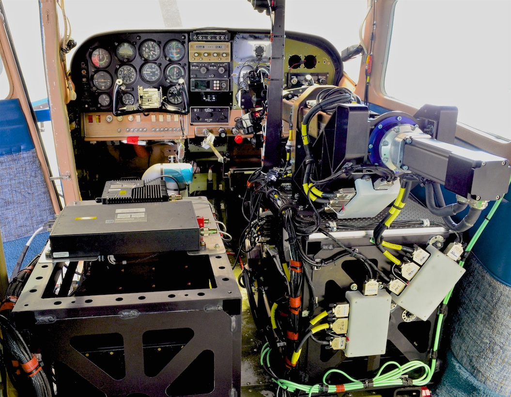 Rear view of the installed ROBOpilot system during preflight for first flight. (Courtesy photo)