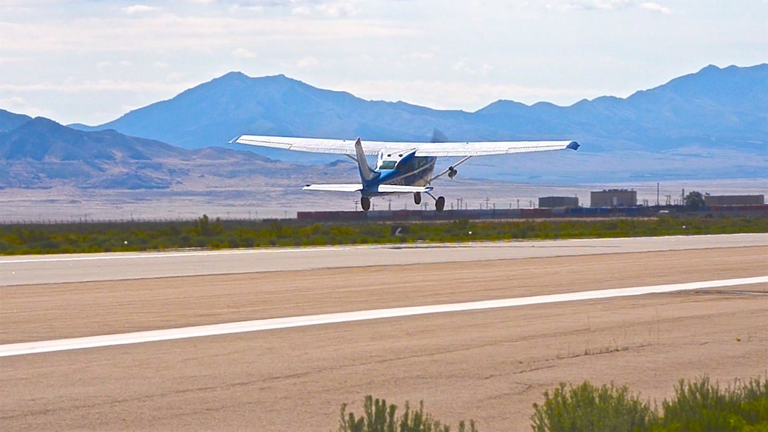 A ROBOpilot controlled 1968 Cessna 206 taking off during it's first flight at Dugway Proving Ground, Utah. (Courtesy photo)