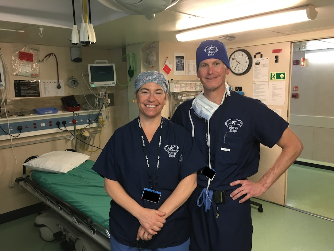 Lt. Col. Glenn Mandeville, a physician assigned to the 181st Intelligence Wing Medical Group, recently returned from a two week volunteer mission with the Africa Mercy hospital ship that has just finished its year long berth in Conakry Guinea. Mandeville operated as a general surgeon throughout the length of his service. (Courtesy Photo)