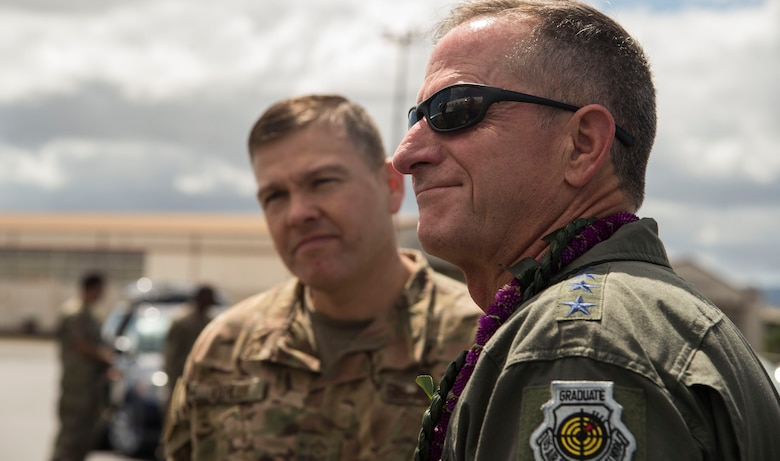 Air Force Chief of Staff Gen. David L. Goldfein speaks with senior leaders at his reception to Joint Base Pearl Harbor-Hickam, Hawaii, Aug. 13, 2019. Over the course of his visit, Goldfein met with several Sky Warrior team members, during his first visit to Joint Base Pearl Harbor-Hickam, from Aug. 13-14. This was Goldfein's first stop as he visits various units in the Indo-Pacific. (U.S. Air Force photo by Tech. Sgt. Heather Redman)