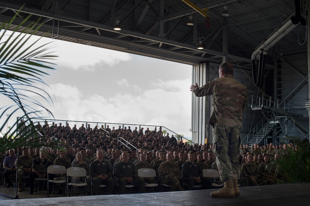 Air Force Chief of Staff Gen. David L. Goldfein speaks to Airmen during an all call at Joint Base Pearl Harbor-Hickam, Hawaii, Aug. 14, 2019. During the all call, Goldfein covered topics such as multi-domain operations, joint leaders and teams and the importance of squadrons in the Air Force. This was Goldfein's first stop as he visits various units in the Indo-Pacific.  (U.S. Air Force photo by Tech. Sgt. Heather Redman)