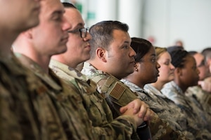 More than 1,800 Airmen listen to Air Force Chief of Staff Gen. David L. Goldfein speak during an all call at Joint Base Pearl Harbor-Hickam, Hawaii, Aug. 14, 2019. During the all call, Goldfein covered topics such as multi-domain operations, joint leaders and teams and the importance of squadrons in the Air Force. This was Goldfein's first stop as he visits various units in the Indo-Pacific.  (U.S. Air Force photo by Tech. Sgt. Heather Redman)