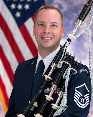 Official photo of Master Sergeant Adam Tianello, Bagpiper with the U.S. Air Force Ceremonial Brass, one of six ensembles in The United States Air Force Band, Joint Base Anacostia-Bolling, Washington, D.C.